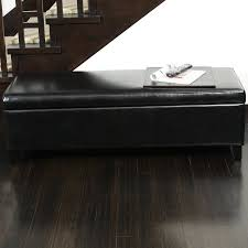 shop best selling home decor york black faux leather ottoman at