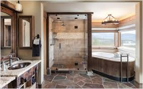 custom walk in showers captivating flagstone tile walk in shower with chrome iron head