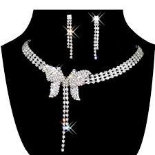 rhinestone necklace earrings images Jewelry set bridal wedding butterfly shape pearls rhinestone jpg