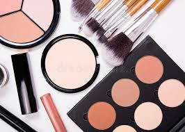 professional makeup artist tools professional makeup tools flatlay on white background stock image