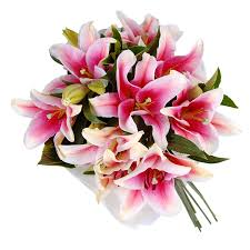 Bouquet Of Lilies Oriental Lily Bouquet 7 Roses Only Featured Products Delivered