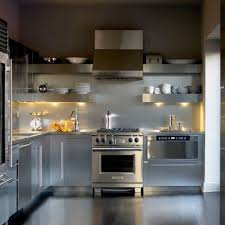 Stainless Kitchen Backsplash Industrial Style Kitchen Using Silver Cabinets And Stainless Steel