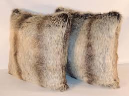 Faux Fur Throw Pillow Custom Chinchilla Fur Gray Faux Fur 18 X 18 In Decorative Pillow