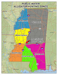 County Map Of Mississippi Public Water Alligator Hunting Info