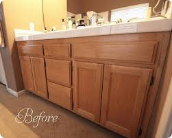 Oak Bathroom Cabinets by Before Honey Oak Cabinets With A Light Color Counter Basement
