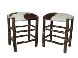 24 inch backless bar stools set of 2 real cowhide rustic hickory backless bar stool 24 hair