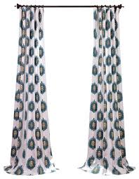 Cotton Curtains And Drapes Mayan Teal Printed Cotton Curtain Single Panel Contemporary