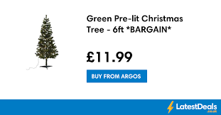 Pre Decorated Christmas Tree Argos by Green Pre Lit Christmas Tree 6ft Bargain 11 99 At Argos