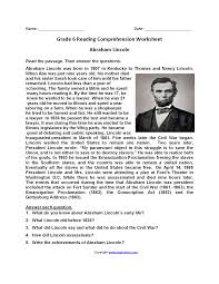 biography of abraham lincoln in english pdf reading worksheets sixth grade reading worksheets