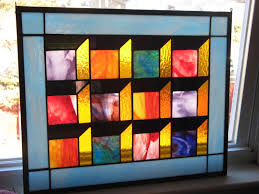 hand made optical illusion stained glass quilt panel by glass