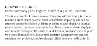 what font does a graphic designer use on his or her resume