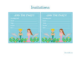mermaid birthday party invitations template template collection