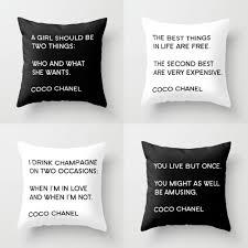 coco chanel quotes u2013 new pillow set u2013 home decor by bella bella