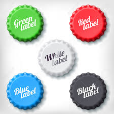 colored bottle caps set on white background green red white