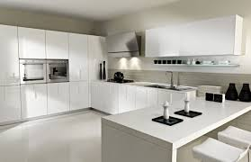 white wall with modern ikea kitchens and white cabinet on the grey