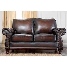 Leather Loveseats Abbyson Erickson Top Grain Leather Loveseat Camel Brown Hayneedle