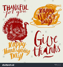 thanksgiving calligraphy set thankful you happy stock vector