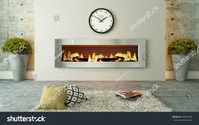 living room fireplace 3d rendering your stock illustration