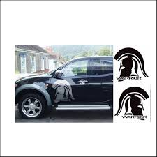 mitsubishi warrior l200 free shipping 2pc warrior graphic vinyl sticker for side and rear