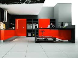 inspiring white ceramic tile and minimalist red kitchen decor also