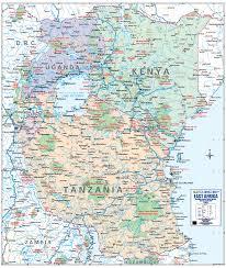 Rwanda Map East Africa Wall Map Tanzania Kenya Uganda Rwanda U0026 Burundi