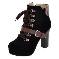 s boots buckle buckle color block toe block heels boots oasap com