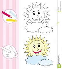 coloring book sketch happy sun royalty free stock image image