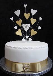 50th golden wedding anniversary birthday cake topper suitable for