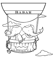 free cartoon coloring pages babar riding air balloon cartoon