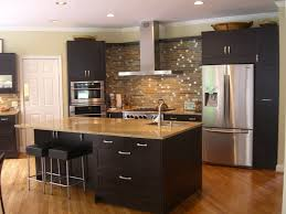 kitchen stone backsplash ideas with dark cabinets window