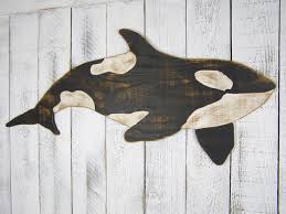 orca whale sign killer whale wall wooden whale decor