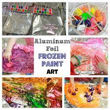 mom to 2 posh lil divas aluminum foil frozen paint art in preschool