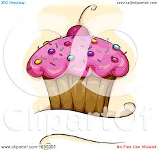 Cherry Cupcake Invitation Card Royalty Clipart Pink Frosted Cupcake With Sprinkles And A Cherry Over