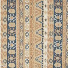 Textured Chenille Upholstery Fabric Beige Tan And Coral Blue Vintage Look Aztec Cabin Southern