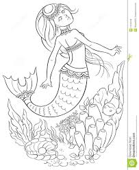 mermaid swimming underwater in the ocean coloring page stock