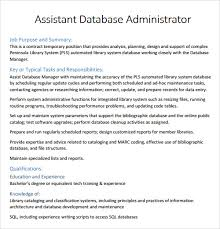 Database Administrator Resume Sample by Sample Resume Template 24 Free Samples Examples Format