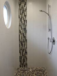 Bathrooms With Subway Tile Ideas by The Vertical Mosaic Glass Tile Combined With The Vertical White