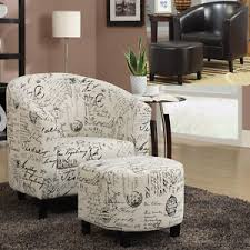 Accent Chair With Ottoman Comfortable 2 Pc Script Fabric Leatherette Vinyl Accent