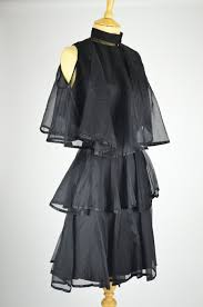 vintage cocktail 1960s vintage cocktail dress tiered black chiffon with matching