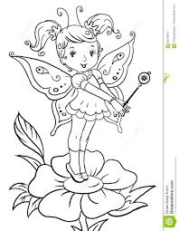 coloring page with cute little elf standing on a flower stock