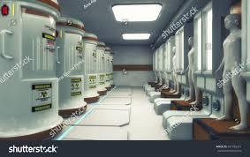 3d render human clones futuristic room stock illustration