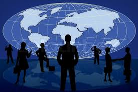 world map stock image silhouette business on blue world map stock photo colourbox