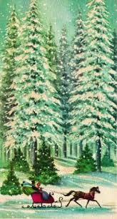vintage greeting card landscape snow sleigh trees