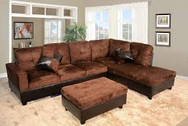 Microfiber Leather Sofa Low Profile Chocolate Microfiber Faux Leather Sofa Sectional W