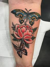Flower Butterfly Tattoos 01 Traditional Flower With Two Flying Butterflies On Forearm