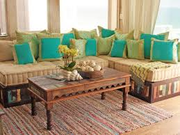 moroccan living room furniture contemporary blue color schemes