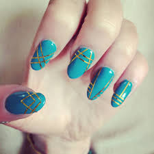 acrylic nails by me teal turquoise green with gold strip tape