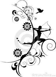 archery arrow alphbit archery on decorative flowers background