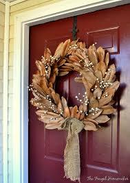 Magnolia Leaf Wreath Fall Decorations For Outside Faux Magnolia Wreath Magnolia Leaf