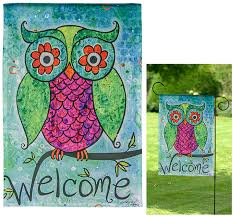 welcome owl garden flag the animal rescue site